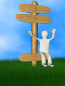 3d person on wooden signboard — Stock Photo