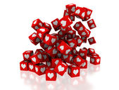 Boxes with love symbol — Stock Photo