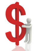 Businessman with 3d dollar symbol — Stock Photo