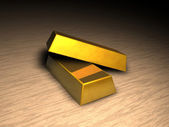 Two gold bars on floor — Stock Photo