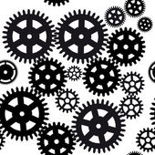 Seamless gear and cogwheel background on black background — Stock Vector