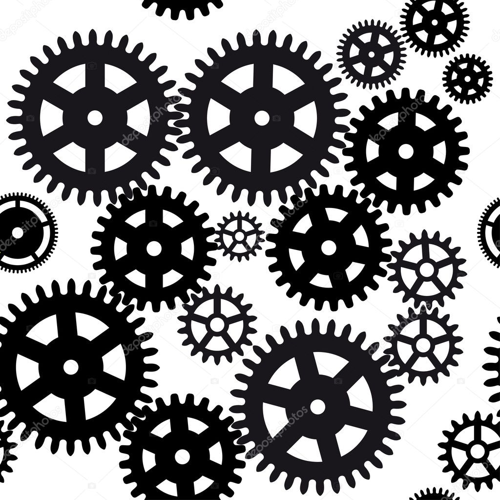 Seamless gear and cogwheel background on black background — Stock Vector #10880182