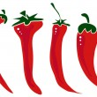 Hot  pepper  set isolated on white background. - Stock Vector