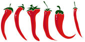 Hot pepper set isolated on white background. — Stock Vector