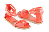 Red female open shoes — Stock Photo