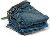 Stack of Old jeans and Belt — Stock Photo
