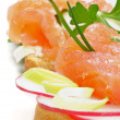 Snack of Smoked Salmon closeup — Stock Photo