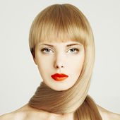 Blond hair. Beautiful woman face with make-up — Stock Photo