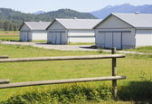 Three Farm utility buildings — Stock Photo