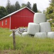 Stock Photo: Bailed Hay and Red Utility Building