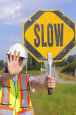 Flag Person with Slow Sign — Stock Photo