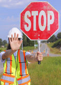 Flag Person Stopping Traffic — Stock Photo