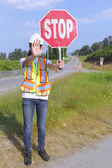 Traffic Controller Stopping Traffic — Stock Photo