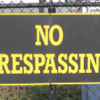No Trespassing Sign on Fence — Stock Photo