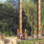 Welding bridge pilons, pylons or posts — Stock Photo #11870365
