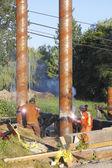 Welding bridge pilons, pylons or posts — Stock Photo