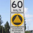 Disaster Response Route Signage — Stock Photo