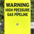 High Pressure Gas Pipeline Sign — Stock Photo