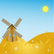 Rural landscape with windmill — Stock Vector #11501369