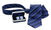 Man cuff links in box and tie isolated — Stock Photo