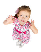Portrait of cute little girl giving her hands — Stock Photo