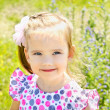 Portrait of cute little girl on the meadow in summer day — Stock Photo