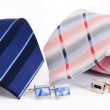 Stock Photo: Man cuff links and tie isolated