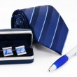 Man cuff links in box pen and tie isolated — Stock Photo #11501700