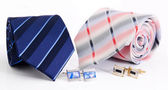 Man cuff links and tie isolated — Stock Photo