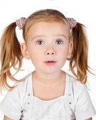 Retrato de niña sorprendida aislada — Foto de Stock