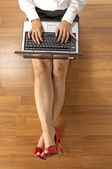 Above View Business Woman Typing — Stock Photo