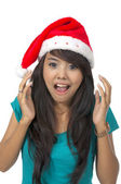 Shocking Christmas Woman — Stock Photo