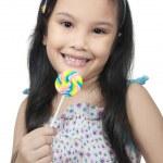 Girl Eating Lollipop — Stock Photo