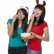 Eat Popcorn Together — Stock Photo