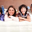 Family lying in bed — Stock Photo