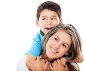 Fils et mère heureuse — Photo