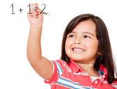 Meisje leren om toe te voegen — Stockfoto