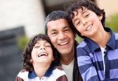 Happy father with sons — Foto Stock