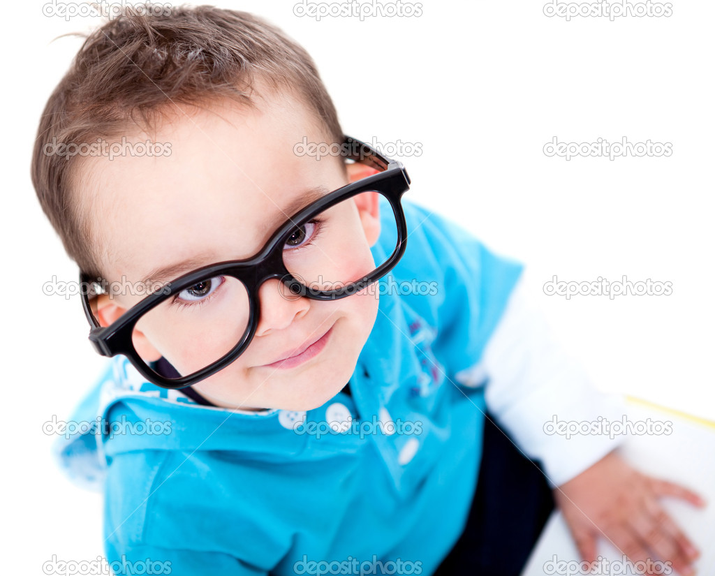 Funny boy wearing big glasses - isolated over a white background — Stock Photo #10753906