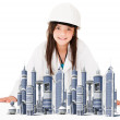 Girl architect - Stock Photo