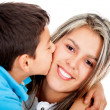 Boy kissing his mother — Stock Photo