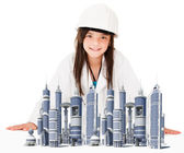 Girl architect — Stock Photo
