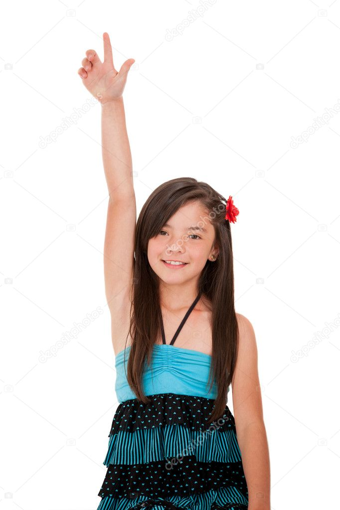 Girl rising her hand - isolated over a white background — Lizenzfreies Foto #10811988