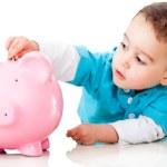 ragazzo, risparmio di denaro — Foto Stock