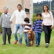 Stock Photo: Family with a dog