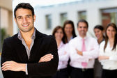 Man leading business team — Stock Photo