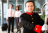 Hotel bellboy — Stock Photo