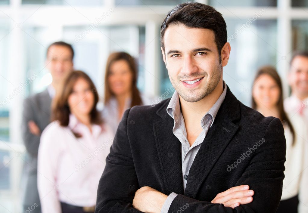 Successful man being leader of a business group — Stock Photo #10900447