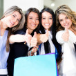 Shopping women with thumbs up — Stock Photo #10915503