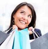 Vzrušená žena nakupování — Stock fotografie